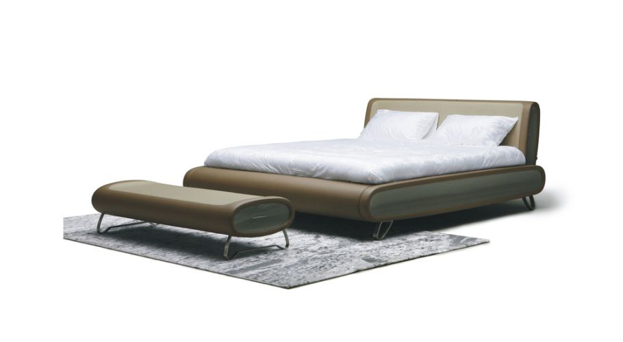contemporary form-tufted pu bed