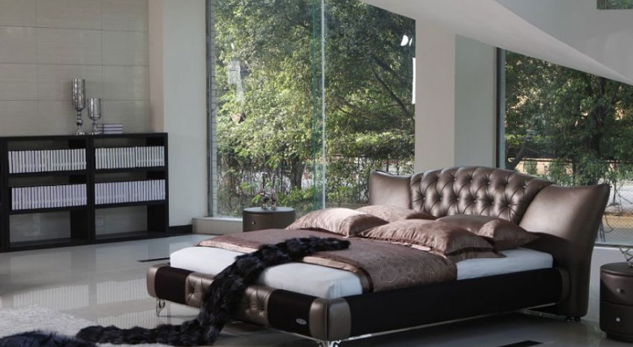 classic contemporary form-tufted leather bed with crystal